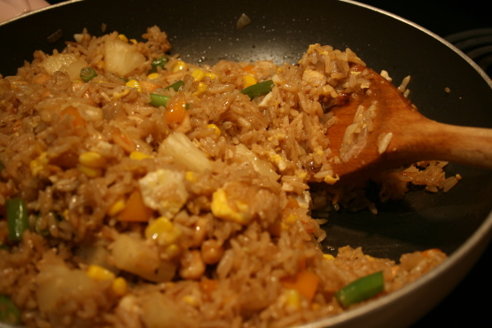 Pineapple Fried Rice From Cooked Leftover Rice And Chicken Recipe Genius Kitchen