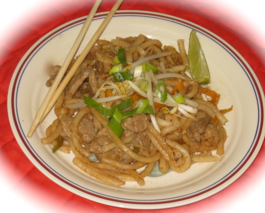 Beef Pad Thai With Peanut Sauce And Asian Noodles RecipeFood.com