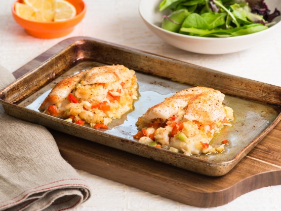 Flounder stuffed with shrimp and crabmeat recipe genius for Sole fish nutrition