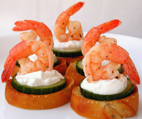 Marinated shrimp canapes recipe christmas for Christmas canape