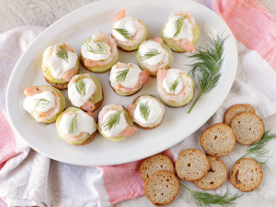 Marinated shrimp canapes recipe genius kitchen for Canape kitchen