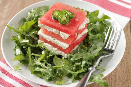 watermelon and feta salad with serrano chile vinaigrette recipe genius kitchen. Black Bedroom Furniture Sets. Home Design Ideas