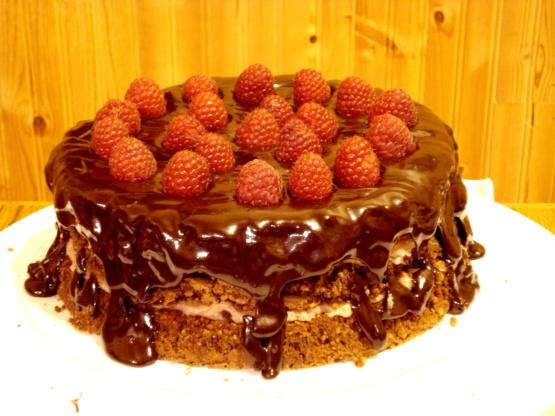 Chocolate Pecan Torte With Raspberry Cream And Chocolate Glaze Recipe ...