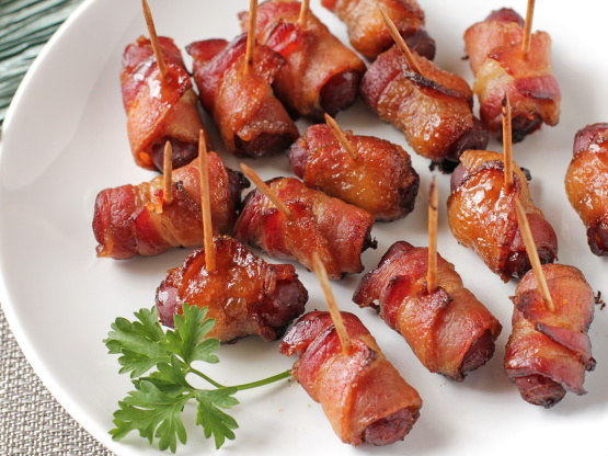 Baked Bacon-Wrapped Brown Sugar Smokies Recipe - Genius ...