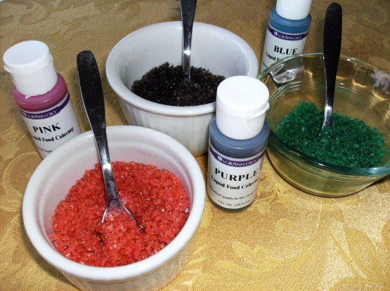 Making Colored Sugar With Gel Food Coloring