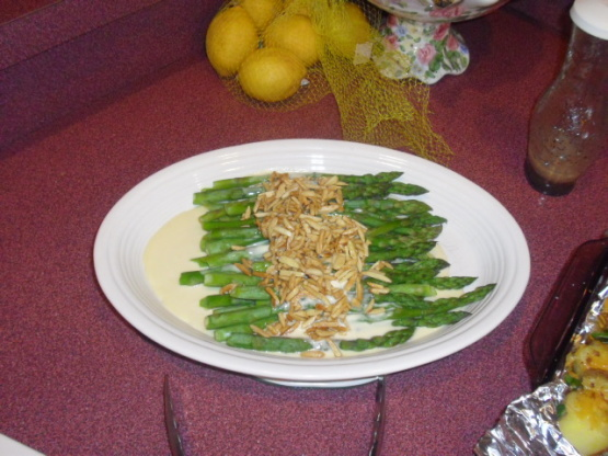 Asparagus With Creamy Mustard Sauce And Buttered Almonds ...