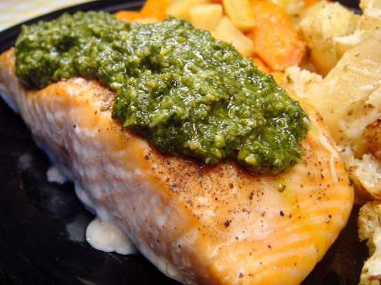 Pan Seared Salmon With Lemon Basil Pesto Recipe Genius