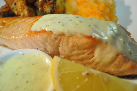 Salmon with a creamy lemon mustard sauce recipe for Creamy sauce served with fish