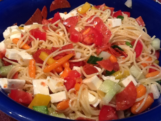 Cold spaghetti salad recipe genius kitchen for Q kitchen pasta buffet