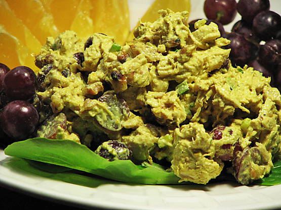 Chicken Walnut And Red Grape Salad With Curry Dressing Recipe Genius Kitchen