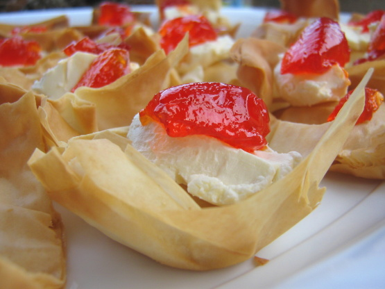 Easy phyllo pastry tarts with hot pepper jelly recipe for Easy jam tarts ready made pastry