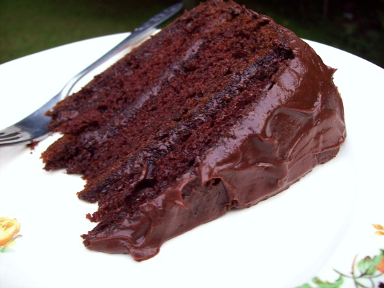 Chocolate cake with pudding and sour cream