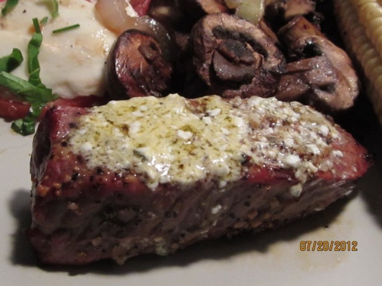Savory Grilled Steak With Bleu Cheese Garlic Butter Recipe ...
