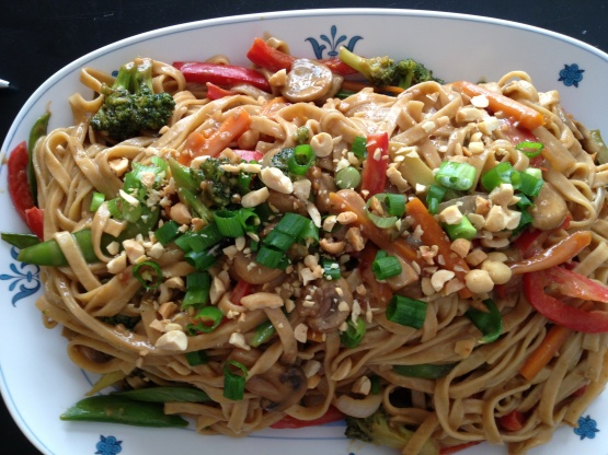 Thai Noodles With Spicy Peanut Sauce RecipeFood.com