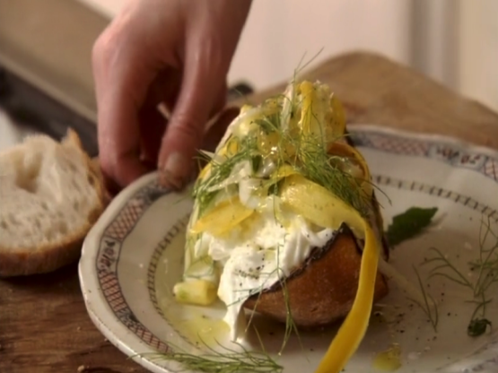 Buffalo Mozzarella Bruschetta With Shaved Fennel & Courgette