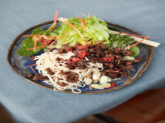 Asian Crispy Beef, Brown Rice Noodles & Loadsa Salad