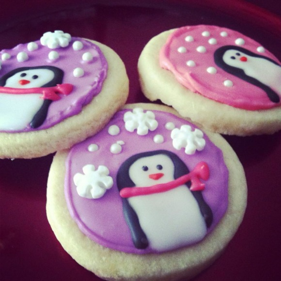 Snow Penguins!, These cute little festive sugar cookie treats takes time and patience, but the payoff is worth it!  Can't wait to take them to my cookie exchange at work!