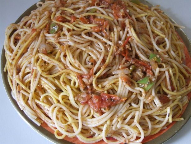 Pasta And Chinese Udong Noodles In Tomato Sauce And ...