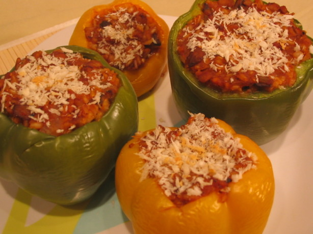 Ground Beef Stuffed Green Bell Peppers II - Oven Or Crock Pot Recipe ...