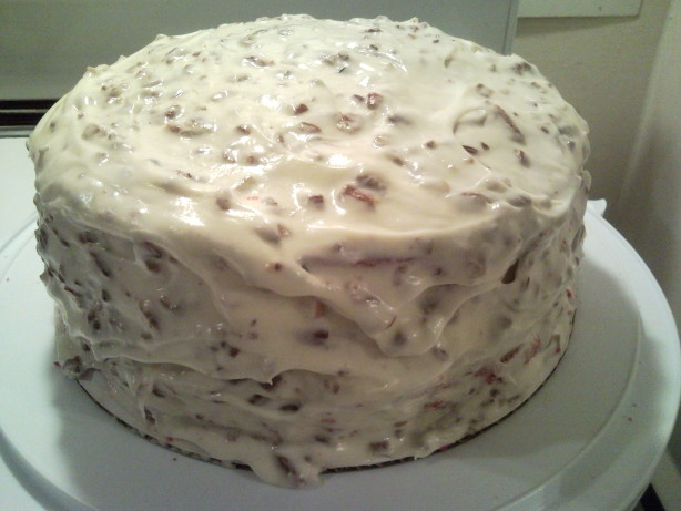 Red Velvet Cake With Cream Cheese Frosting And Pecans