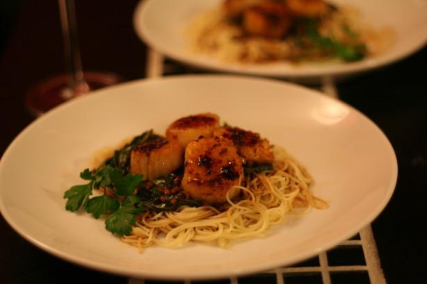 Sauteed Scallops With Angel Hair Pasta Recipe Food Com