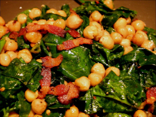 Spinach And Chickpeas With Bacon Recipe - Food.com