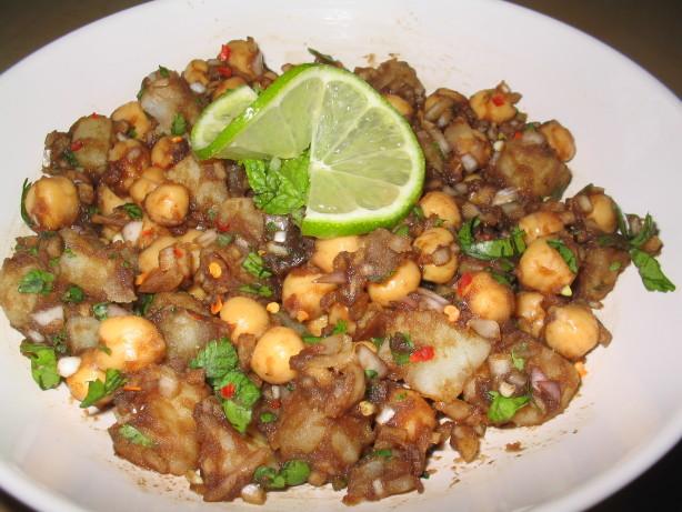 Aloo Channa Chaat Tangy Potato Chickpea Snack) Recipe ...  Aloo