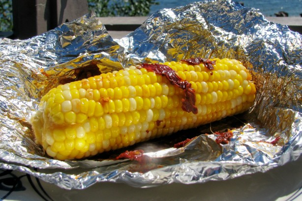 White Corn On The Cob Seasoned With Chipotle Peppers And Butter ...