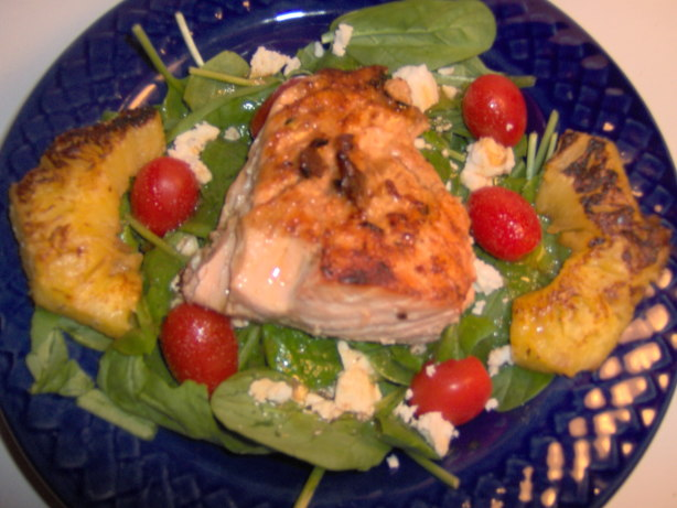 Grilled Salmon Spinach Salad Recipe Food Com