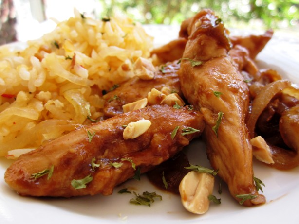 Sriracha-Glazed Chicken And Onions Over Long-Grain Rice Recipe - Food ...
