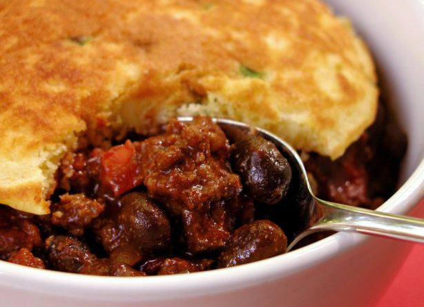 Beef And Black Bean Chili With Green Onion Corn Cakes Recipe