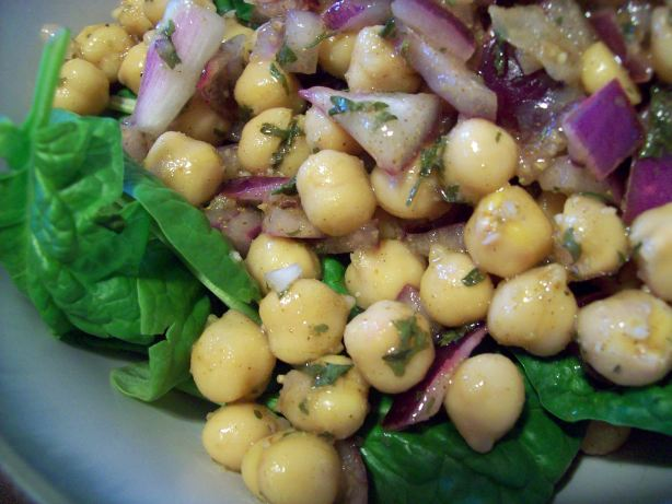 Chickpea And Spinach Salad With Cumin Dressing And Yogurt Sauce Recipe ...