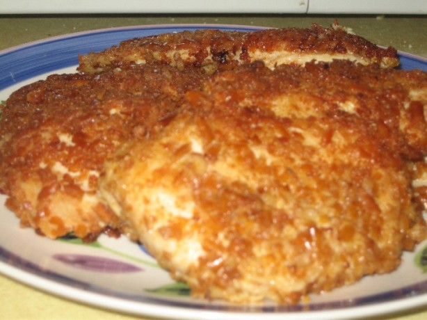 Pretzel Crusted Chicken Breast With Cheddar Cheesy Mustard Sauce ...