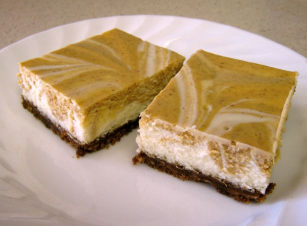 Marbled Pumpkin Cheesecake Bars With A Gingersnap Crust Recipe ...