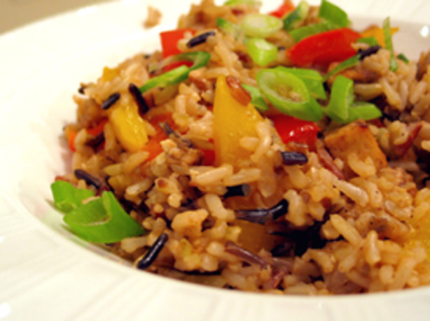 Brown Rice Stir-Fry With Flavored Tofu And Vegetables Recipe - Food ...