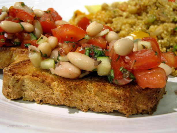 Bruschetta With White Beans, Tomatoes, And Fresh Herbs Recipe - Food ...