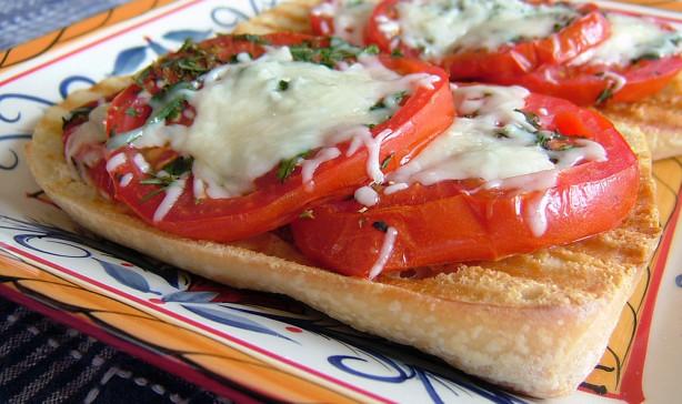 Italian Bruschetta With Herbed Mozzarella And Garlic Tomatoes Recipe ...