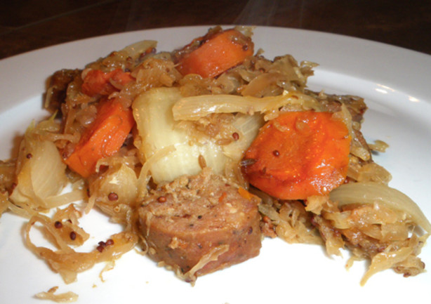 Crock Pot Sausage And Sauerkraut Dinner Recipe - Food.com