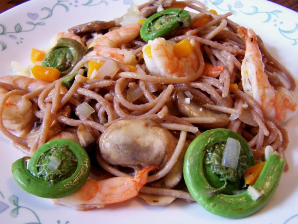 fiddlehead ferns and shrimp over linguine recipe   food