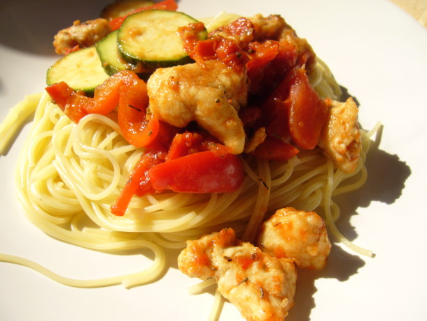 ... With Peppers, Zucchini And Tomatoes On Angel Hair Recipe - Food.com