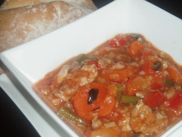 Chunky Chicken Soup, Mediterranean Style Recipe