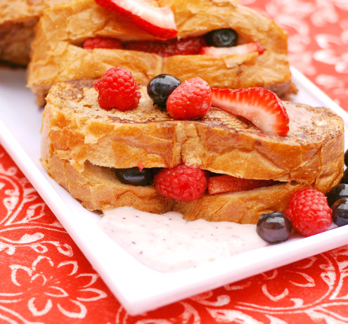 Berry-Stuffed French Toast With Vanilla Yogurt Sauce Recipe - Food.com