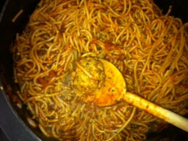 Turkey Meatballs W Spicy Tomato Sauce And Whole-Wheat Spaghetti Recipe ...