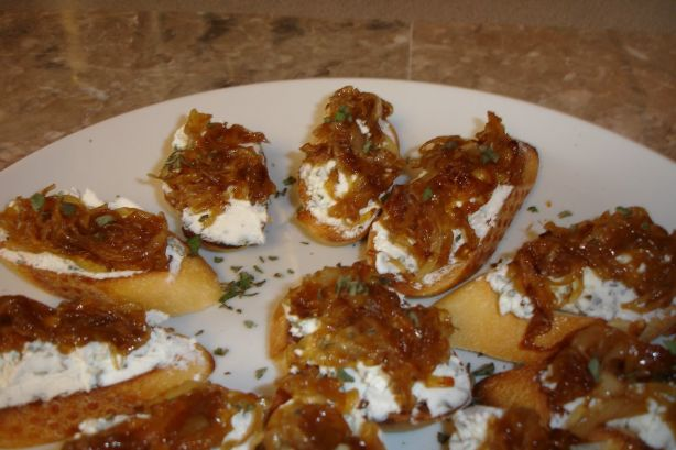 Sage And Goat Cheese Crostini With Caramelized Onions Recipe - Food ...