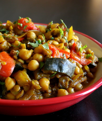 Moroccan Eggplant With Garbanzo Beans Recipe Food Com