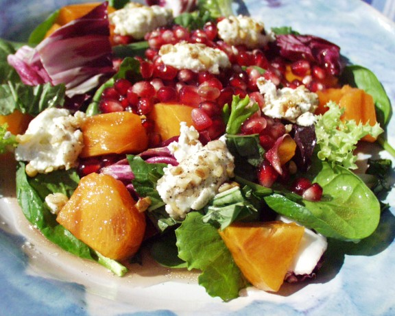 Pomegranate Persimmon Salad With Warm Goat Cheese Recipe - Food.com
