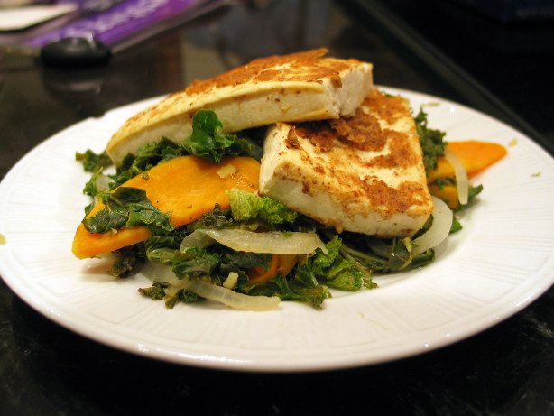 Mustard-Crusted Tofu With Kale And Sweet Potato Recipe ...