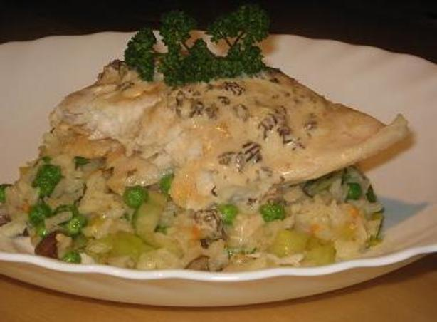 Sea perch on a bed of risotto with a morel sauce recipe for Morel mushroom recipes food network