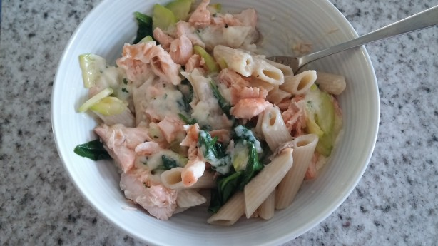 Salmon With Penne Pasta Alfredo Recipe Food Com