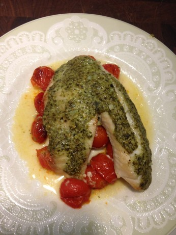 Oven Roasted Tilapia With Tomatoes, Pesto And Lemon Recipe ...